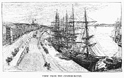 River Transportation Framed Prints - Montreal: Docks, 1889 Framed Print by Granger