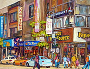 Montreal Storefronts Paintings - Montreal Downtown Stores by Carole Spandau