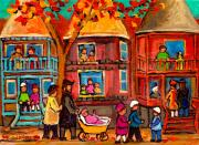 Montreal Storefronts Painting Metal Prints - Montreal Early Autumn Metal Print by Carole Spandau