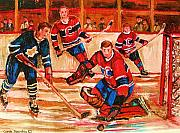 Hockey Prints Posters - Montreal Forum Hockey Game Poster by Carole Spandau
