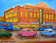 Quebec Paintings - Montreal Forum Vintage Scene by Carole Spandau