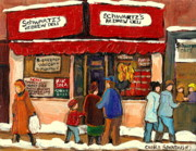 City Scapes Greeting Cards Prints - Montreal Hebrew Delicatessen Schwartzs By Montreal Streetscene Artist Carole Spandau Print by Carole Spandau