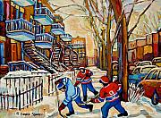 Pond Hockey Scenes Posters - Montreal Hockey Game With 3 Boys Poster by Carole Spandau