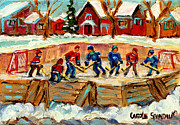 Pond Hockey Scenes Posters - Montreal Hockey Rinks Urban Scene Poster by Carole Spandau