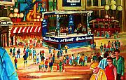 Crowds Painting Originals - Montreal Jazz Festival by Carole Spandau