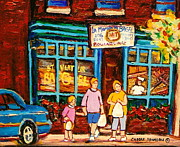 Montreal Street Life Paintings - Montreal Landmarks Paintings The Bagel Shops by Carole Spandau