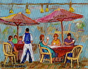 Couples Paintings - Montreal Outdoor Terrace Cafe City Scene by Carole Spandau