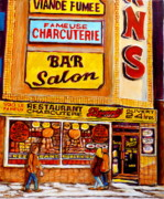 Montreal Pizza Places Framed Prints - Montreal Paintings Framed Print by Carole Spandau