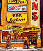 Montreal Restaurants Paintings - Montreal Paintings Dunns Restaurant Streets Of Montreal by Carole Spandau