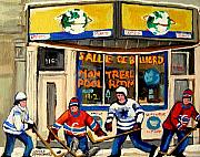 Kids Playing Hockey Paintings - Montreal Poolroom Hockey Fans by Carole Spandau