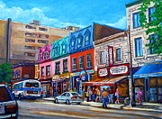 Montreal Restaurants Paintings - Montreal Smoked Meat Schwatrzs Deli by Carole Spandau