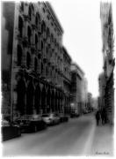 Drapery Framed Prints - Montreal Street Black and White Framed Print by Marko Mitic