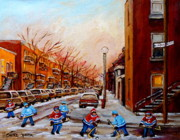 Kids Playing Hockey Paintings - Montreal Street Hockey Game by Carole Spandau