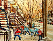 Kids Playing Hockey Paintings - Montreal Street Hockey Paintings by Carole Spandau