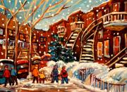 Brick Buildings Painting Framed Prints - Montreal Street In Winter Framed Print by Carole Spandau