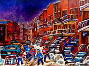 Montreal Winter Scenes Prints - Montreal Street Scene Paintings Hockey On De Bullion Street   Print by Carole Spandau