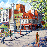 City Scape Metal Prints - Montreal Street Urban Scene by Prankearts Metal Print by Richard T Pranke