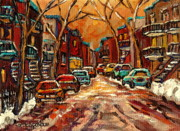 Montreal Storefronts Painting Framed Prints - Montreal Streets In Winter Framed Print by Carole Spandau