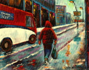 Montreal Storefronts Paintings - Montreal Streets Winter Morning by Carole Spandau