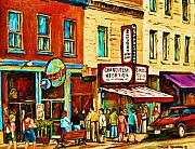 Cityscapes Paintings - Montreal Streetscene Artist Carole Spandau Paints Schwartzs Main Street Hustle Bustle by Carole Spandau