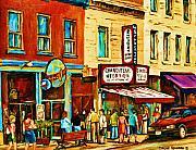 Montreal Streetscene Artist Carole Spandau Paints Schwartzs Main Street Hustle Bustle Print by Carole Spandau