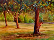 Fall Scenes Paintings - Montreal Westmount Park Urban Scene by Carole Spandau
