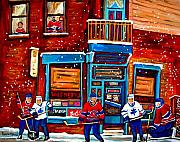 Montreal Cityscenes Paintings - Montreal Wilensky Deli By Carole Spandau Montreal Streetscene And Hockey Artist by Carole Spandau