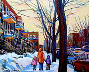 Montreal Neighborhoods Paintings - Montreal Winter by Carole Spandau