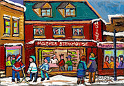 Montreal Winter Scenes Prints - Montreal Winter Hockey At Moishes Print by Carole Spandau