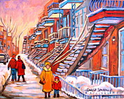 Montreal Urban Landscapes Prints - Montreal Winter Walk Print by Carole Spandau