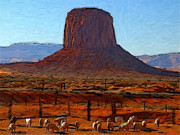 Sheep Pastels Framed Prints - Monument Valley 2 Pastel Framed Print by Stefan Kuhn