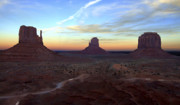 Roads Prints - Monument Valley Just After Sunset Print by Mike McGlothlen