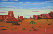 Lone Tree Painting Prints - Monument Valley Lone Tree Print by Don Monahan