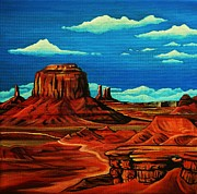 Cowboys And Indians Painting Framed Prints - Monument Valley Framed Print by Lucy Deane