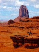 Cowboy Pastels Posters - Monument Valley Pastel Poster by Stefan Kuhn
