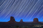 Stars Trail Posters - Monument Valley Star Trails 1 Poster by Jane Rix
