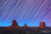 Stars Trail Prints - Monument Valley Star Trails  Print by Jane Rix