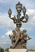 Candelabra Metal Prints - Monumental lamp on Bridge Alexandre III Metal Print by Fabrizio Ruggeri