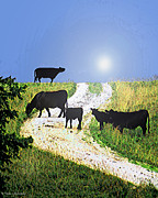 Mix Medium Mixed Media Prints - Moo Cows Print by Tam Ishmael - Eizman