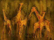 Giclee Mixed Media - Moods Of Africa - Giraffes by Carol Cavalaris