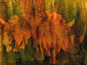 Abstract Wildlife Mixed Media - Moods Of Africa - Rhinos by Carol Cavalaris