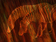 Giclee Mixed Media - Moods Of Africa - Zebras by Carol Cavalaris