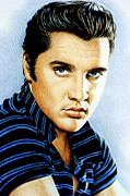 Elvis Presley Drawings - Moody Blue by Andrew Read