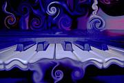 Digital Abstracts Prints - Moody Blues Print by Linda Sannuti