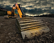 Ground Photo Framed Prints - Moody Excavator Framed Print by Meirion Matthias
