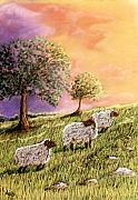 Sheep Pastels Framed Prints - Moody Skies Framed Print by Jan Amiss