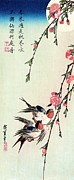 Period Painting Framed Prints - Moon - Swallows - Peach Blossoms Framed Print by Pg Reproductions