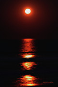 Sea Moon Full Moon Digital Art Posters - Moon Afire Poster by DigiArt Diaries by Vicky Browning