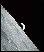 Moon Surface Posters - Moon And Crescent Earth From Apollo 17 Poster by NASA / Science Source
