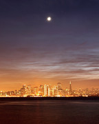 San Francisco Metal Prints - Moon And Sf From Treasure Island Metal Print by Rob Kroenert